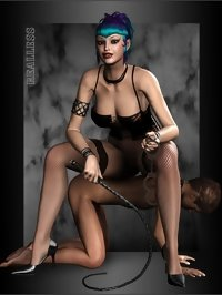 Hot 3d mistress and submissive slave