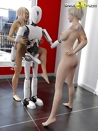 Fantastic sex robot fucks two blonde sluts